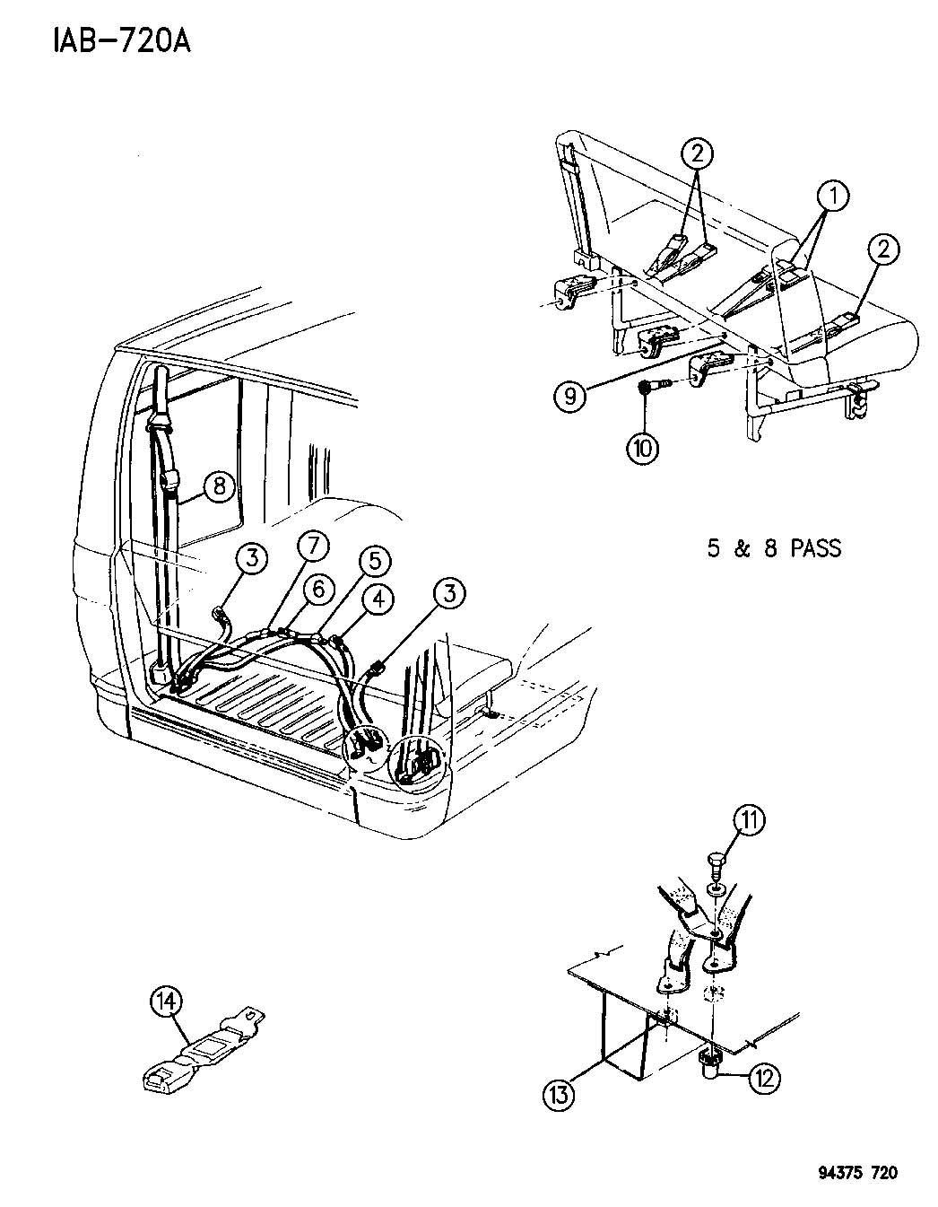 1990 chrysler lebaron extender  seat belt  body  front