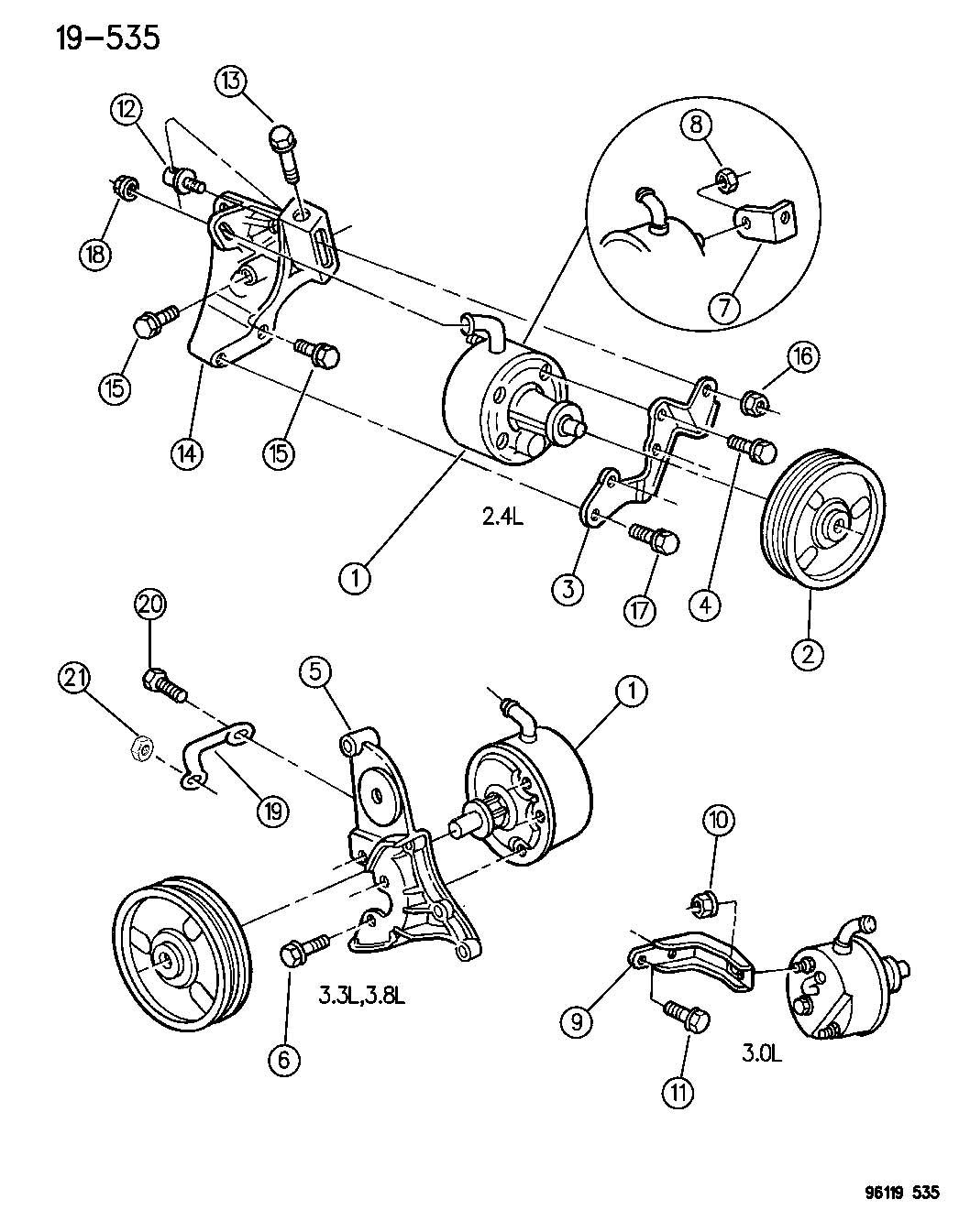 1999 dodge caravan pulley  power steering pump  ribbed
