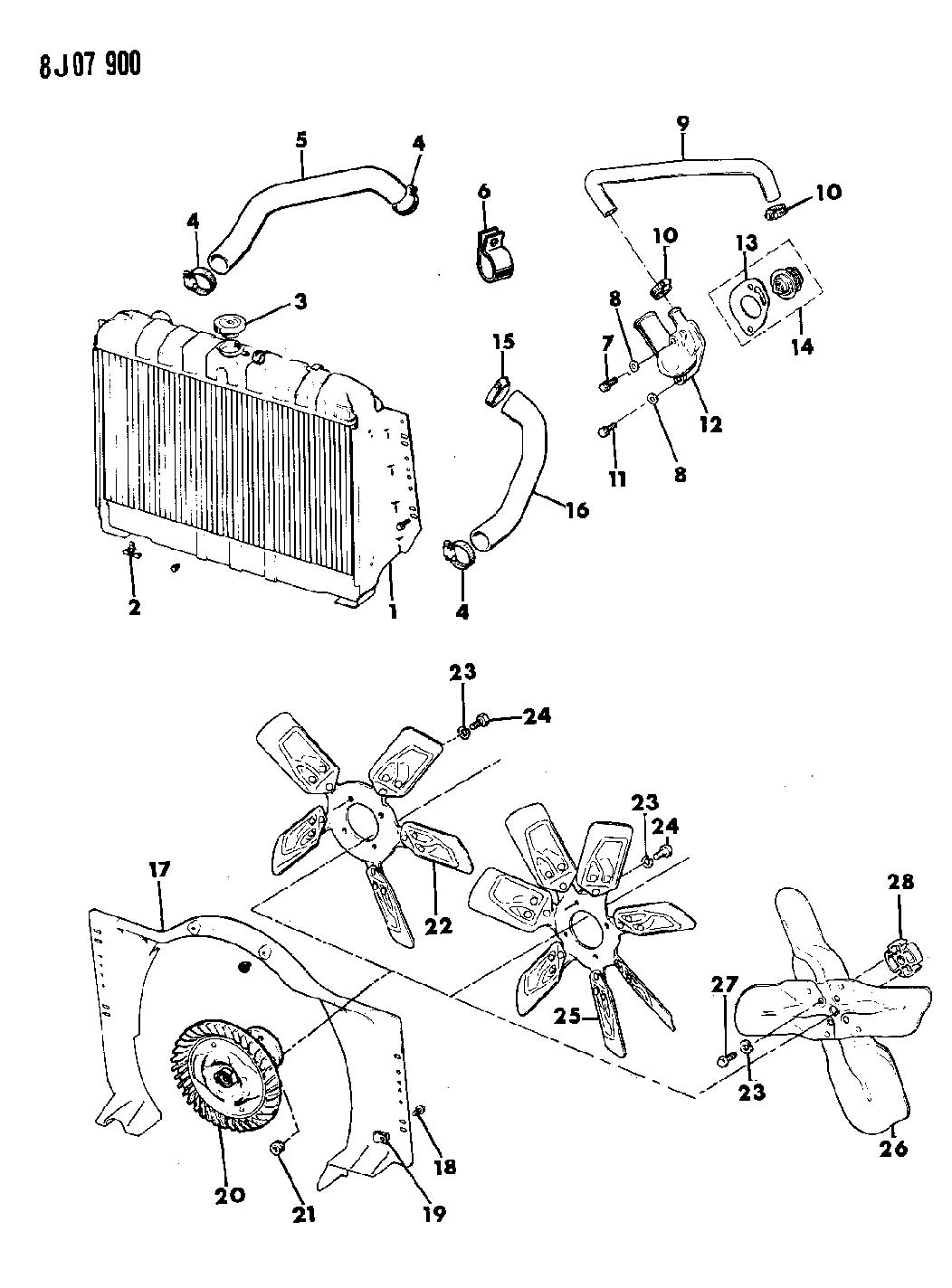 1996 jeep grand cherokee radiator diagram