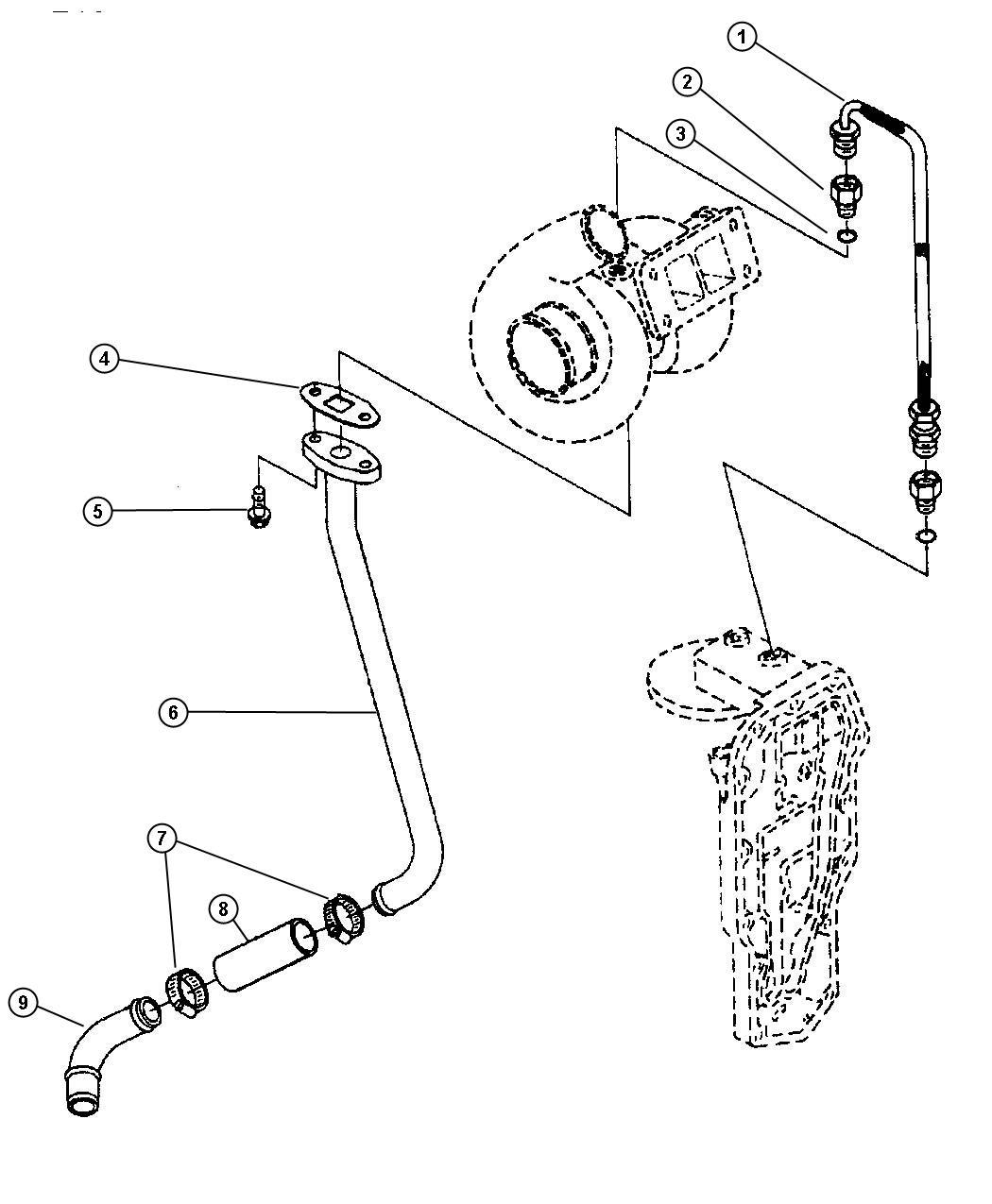 1999 Dodge Neon Connector  Turbo Oil Plumbing  Emissions  Diesel  Engine