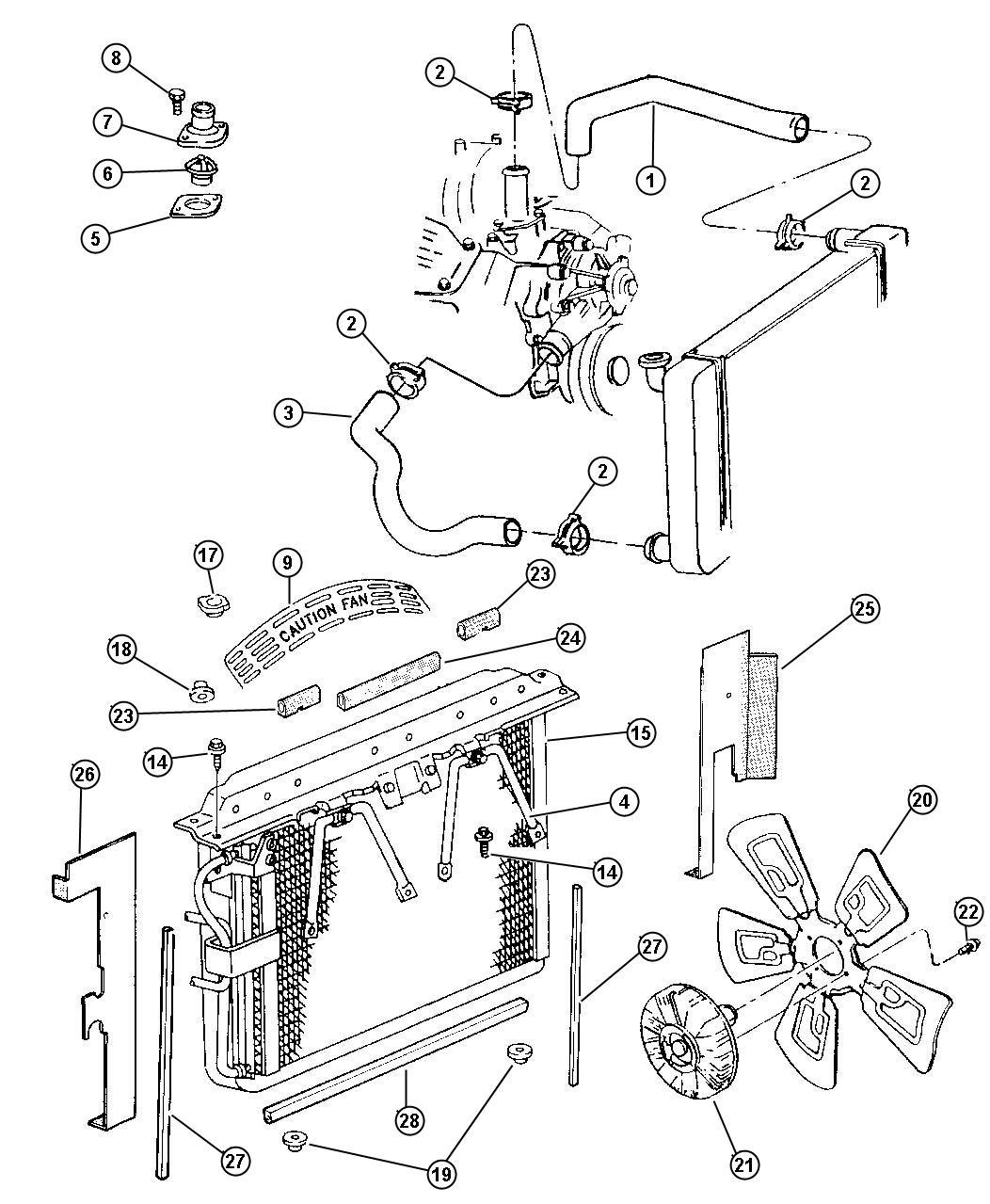 1994 Jeep Grand Cherokee Hose. Radiator. Inlet. Radiator ...