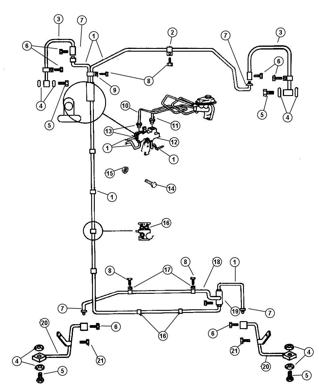 1995 Dodge Dakota Tee  Brake Tube  Front To Rear Brake