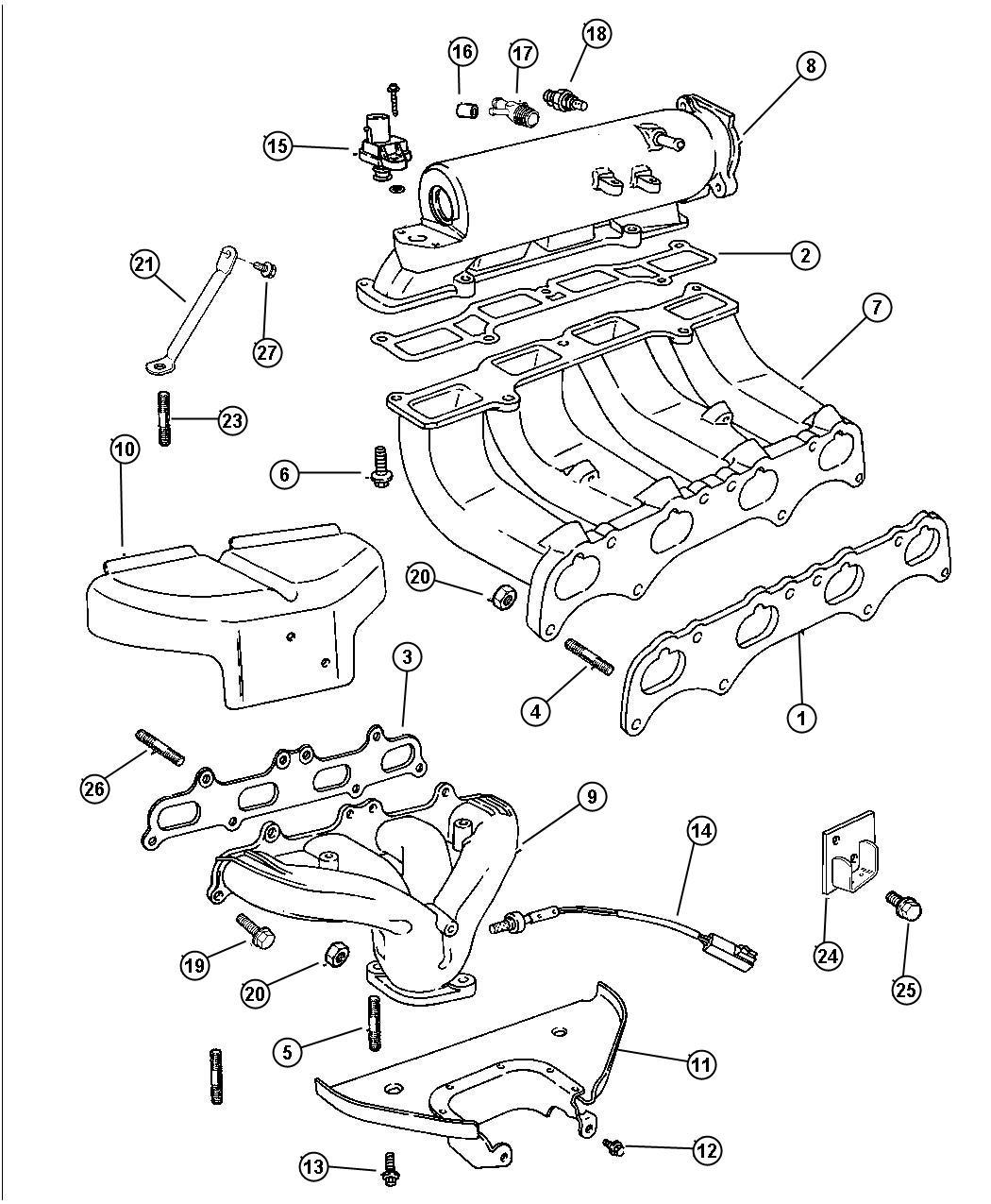 dodge avenger manifold  intake  intake lower to head  exhaust  engine  manifolds