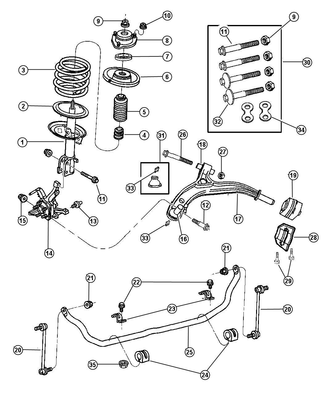 2003 dodge grand caravan damper strut front suspension for Suspension sdb