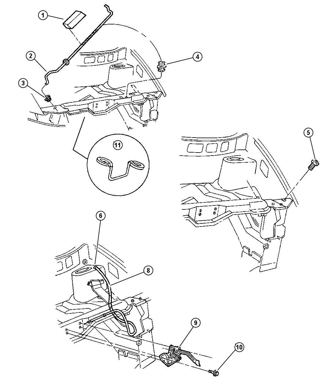 Chrysler Voyager Release  Hood Latch  Inside  Assy  Body