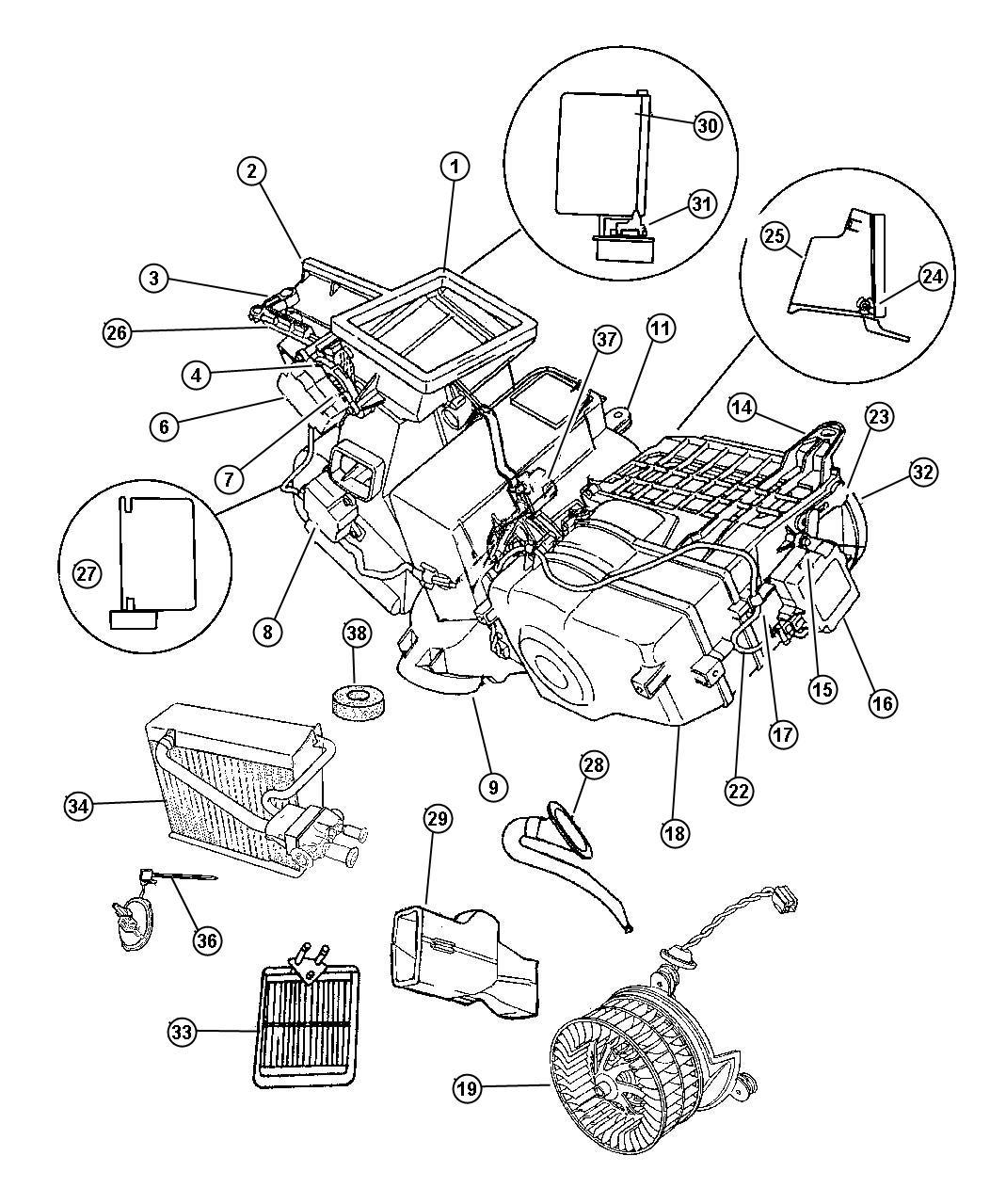 1997 Dodge Intrepid Actuator  Heater  Blend Air Door