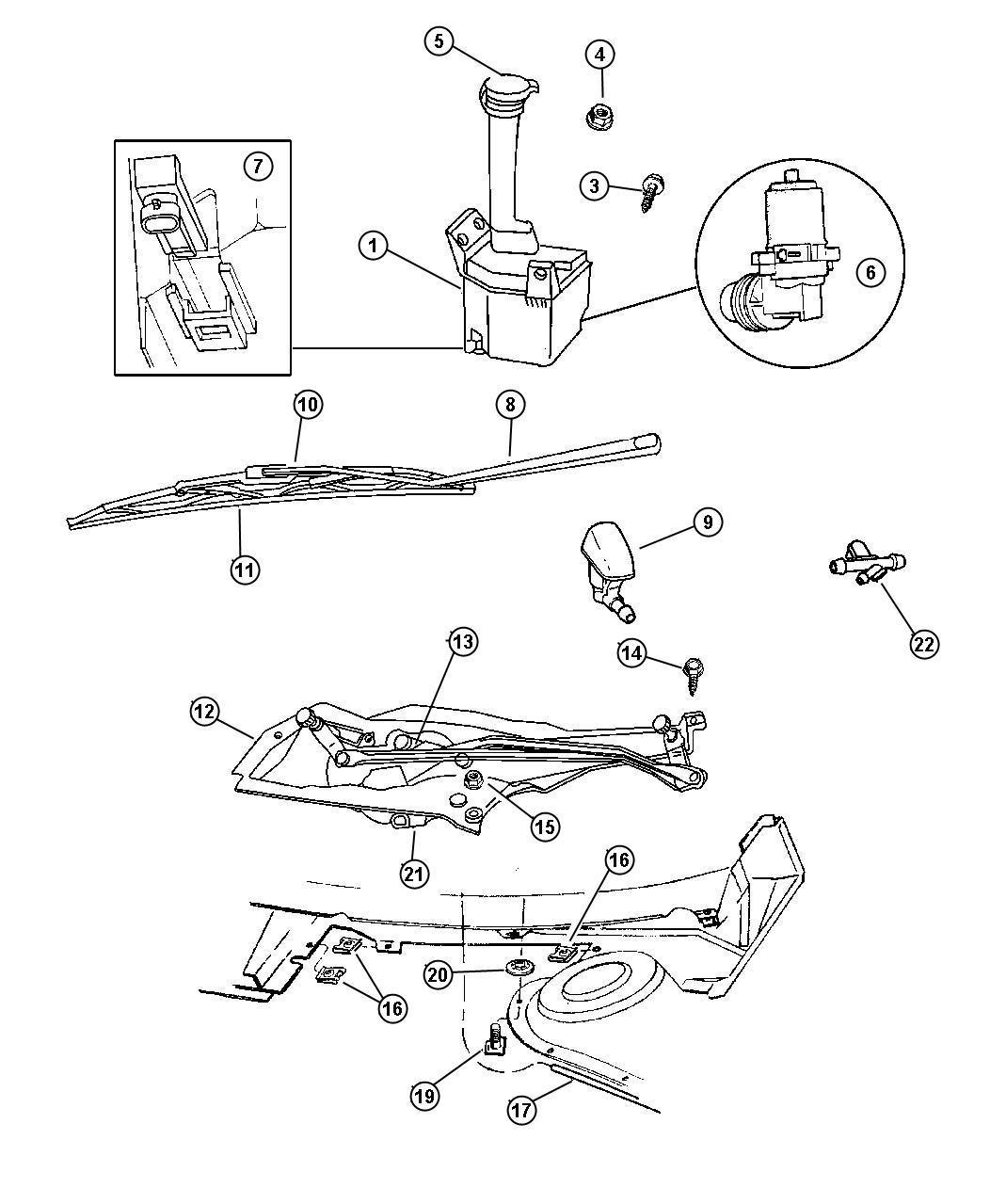 1997 Dodge Intrepid Linkage  Wiper Arm  Lower Link