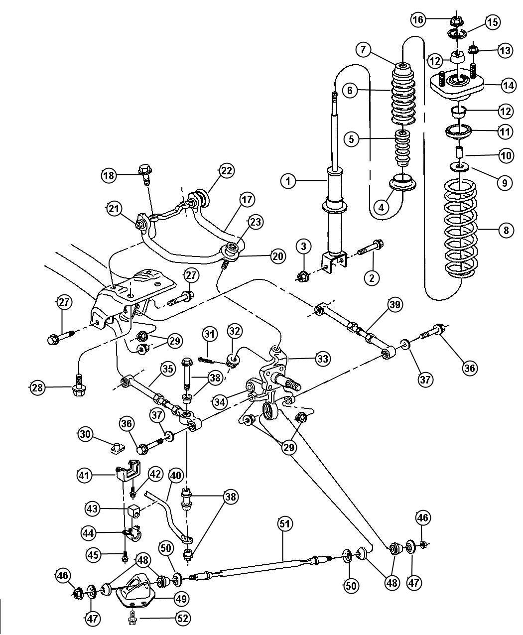 1999 chrysler sebring bar  rear sway  disc  brakes  drum