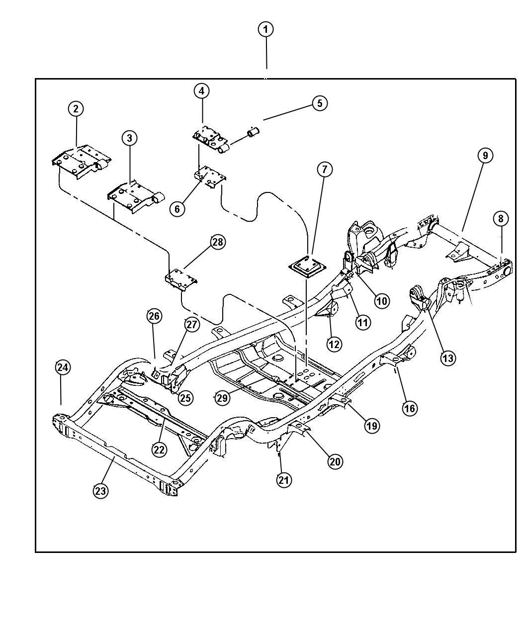 Jeep Wrangler Frame. Chassis. W/2.5l eng - 52058813AC ...