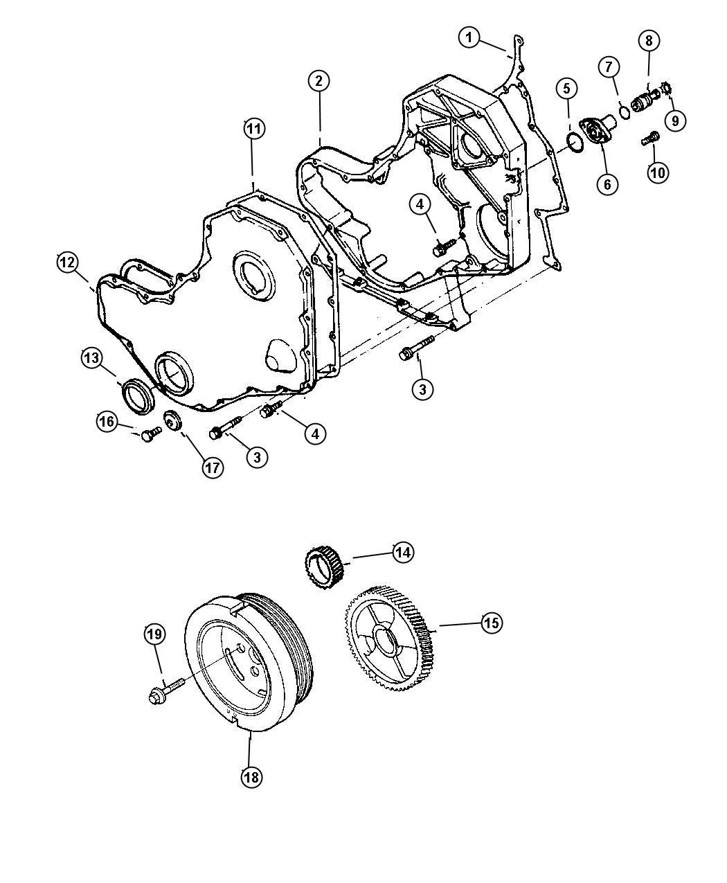 1998 dodge ram 3500 gasket  timing cover  gasket  gear