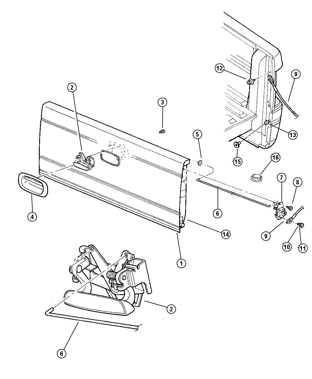 dodge caliber latch  left  tailgate  caliper  lock  box