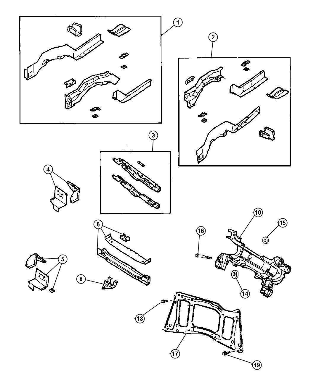 Chrysler Grand Voyager Isolator  Cradle  Lower  Lower Rear  Body  Front  Frame