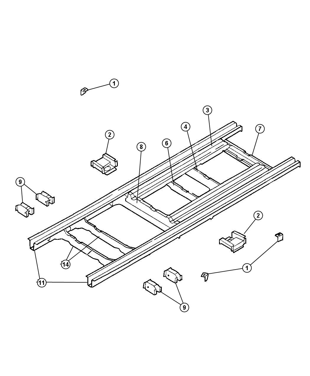 Chrysler Voyager Rail  Rear Floor Pan Side  Epic  Conversion  Group