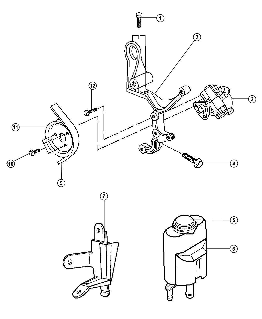 1999 chrysler sebring reservoir  power steering pump
