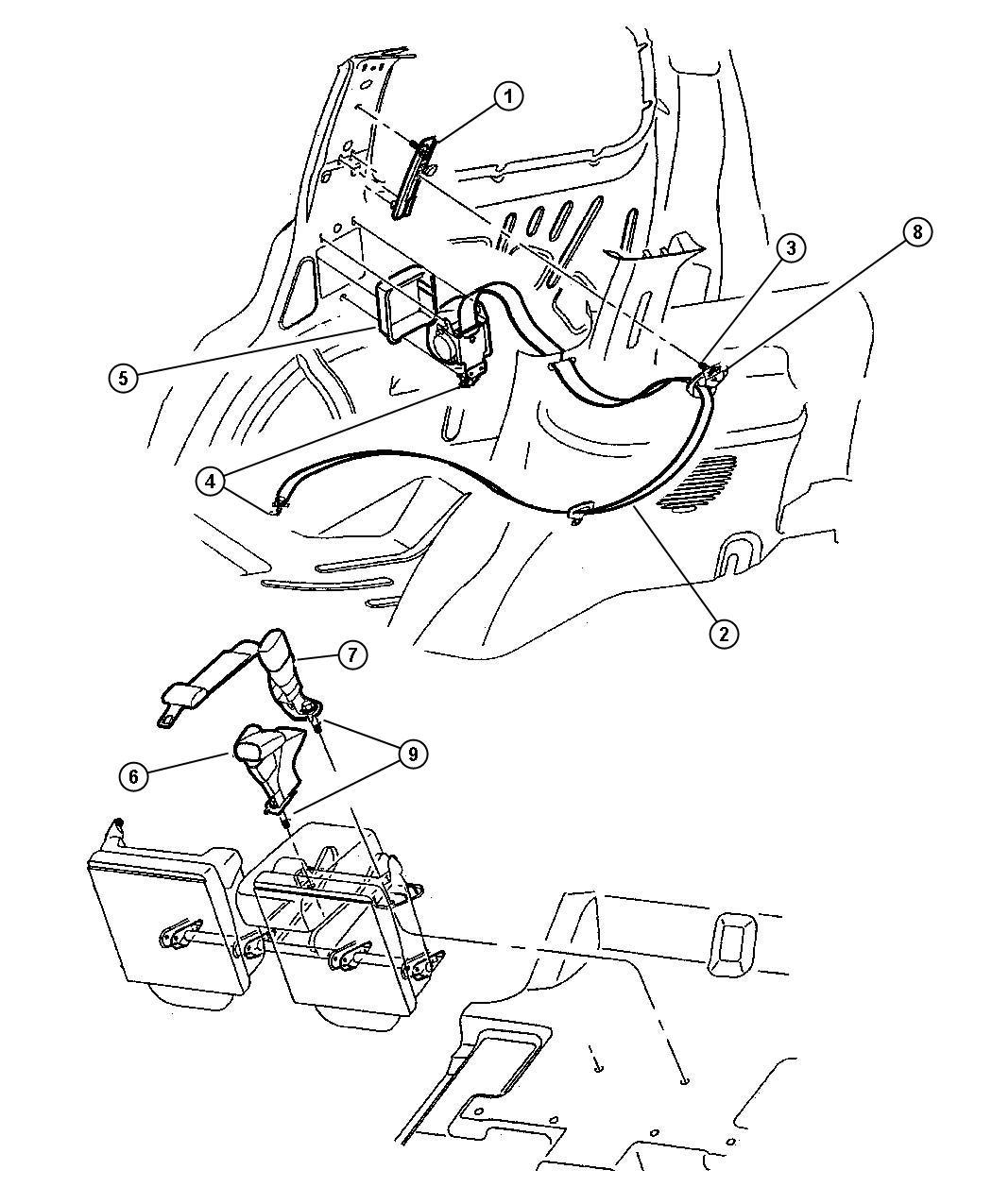 2004 jeep grand cherokee seat belt  rear inner  trim   all trim codes  color   mist gray