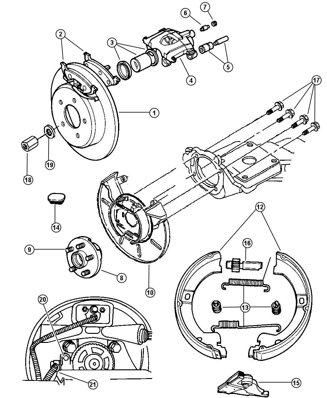 2000 Dodge Grand Caravan Pad Kit Rear Disc Brake Mopar V