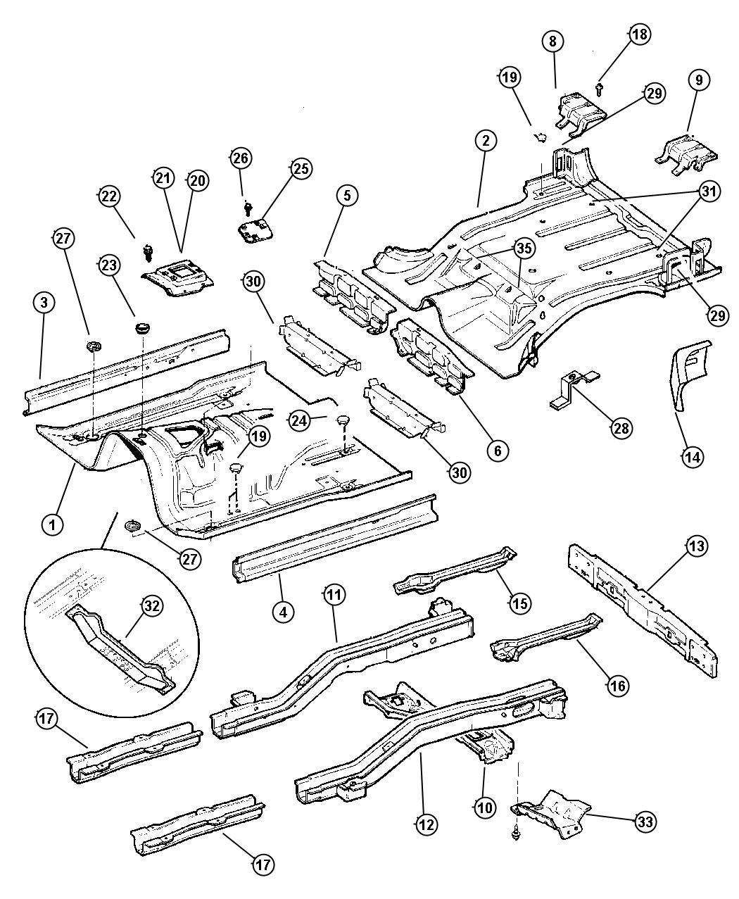 jeep grand cherokee sill  rear  floor  pans  right  mopar  body