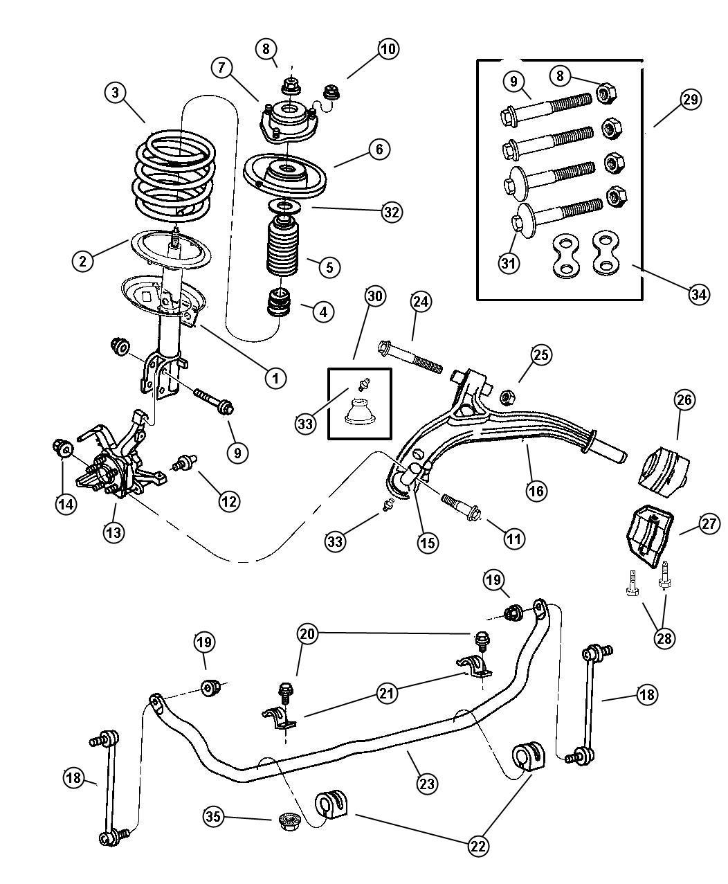 2003 chrysler voyager cushion  sway eliminator  sway bar frt suspension  sway bar frt