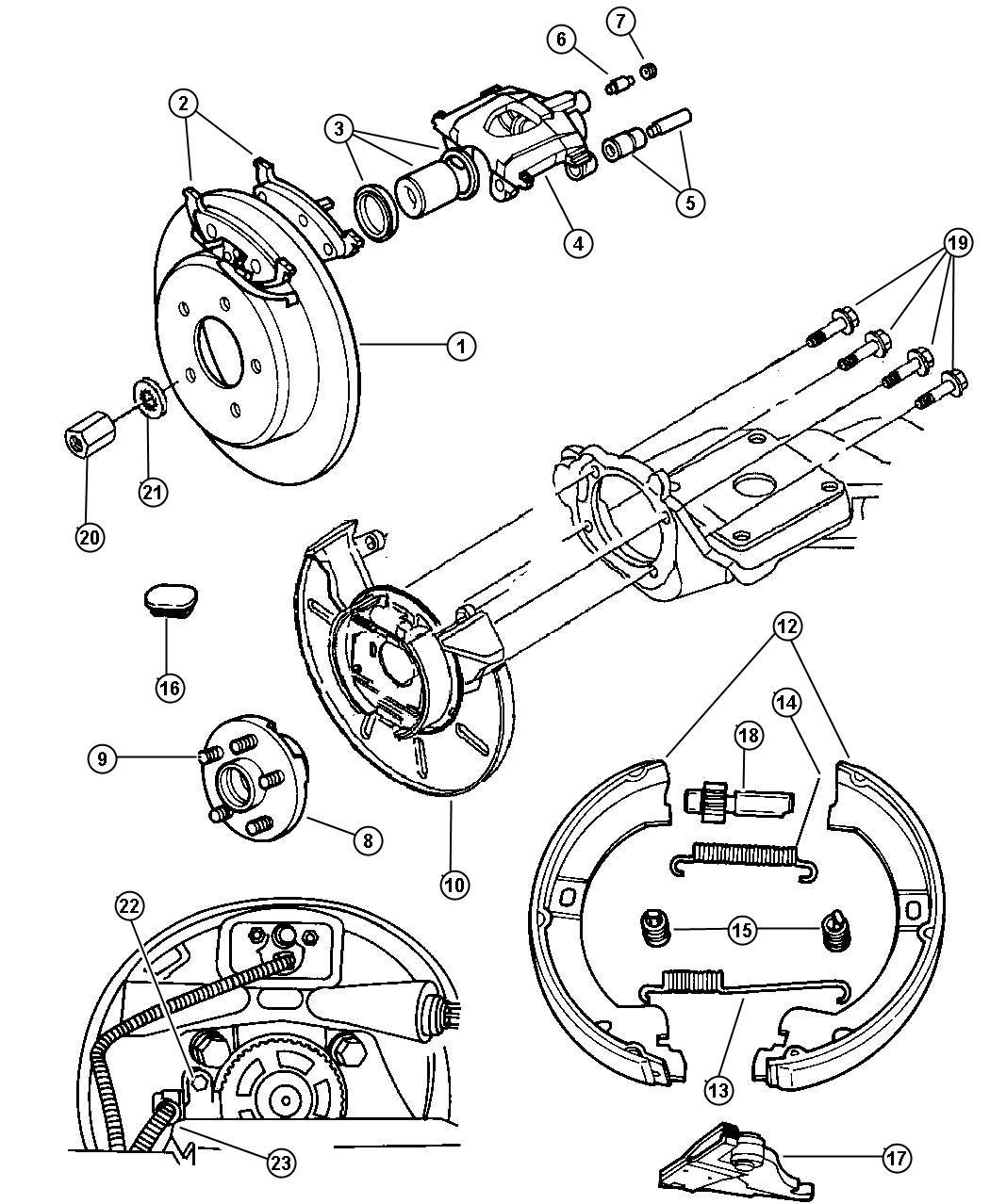 2000 chrysler voyager adjuster  wheel brake  disc  brakes