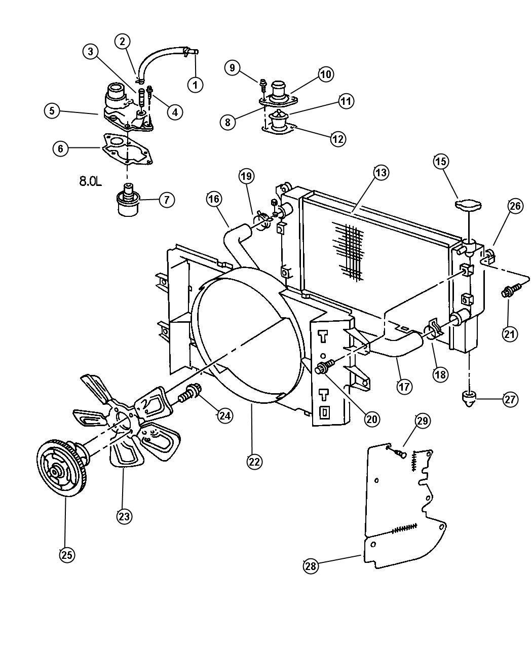 1999 dodge ram 3500 radiator  engine cooling  related