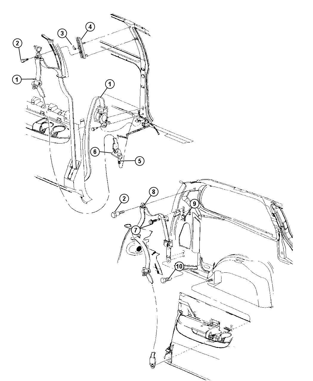 Dodge Grand Caravan Seat Belt  2nd Rear Outer  Tan  Trim
