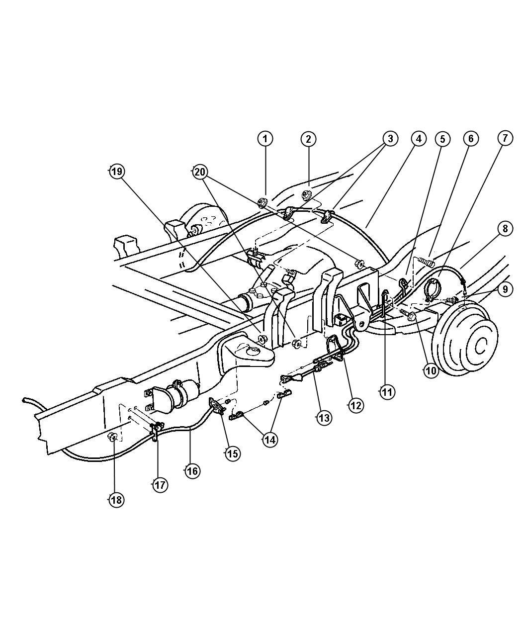 1998 Dodge Ram 1500 Cable  Parking Brake  Left  Rear