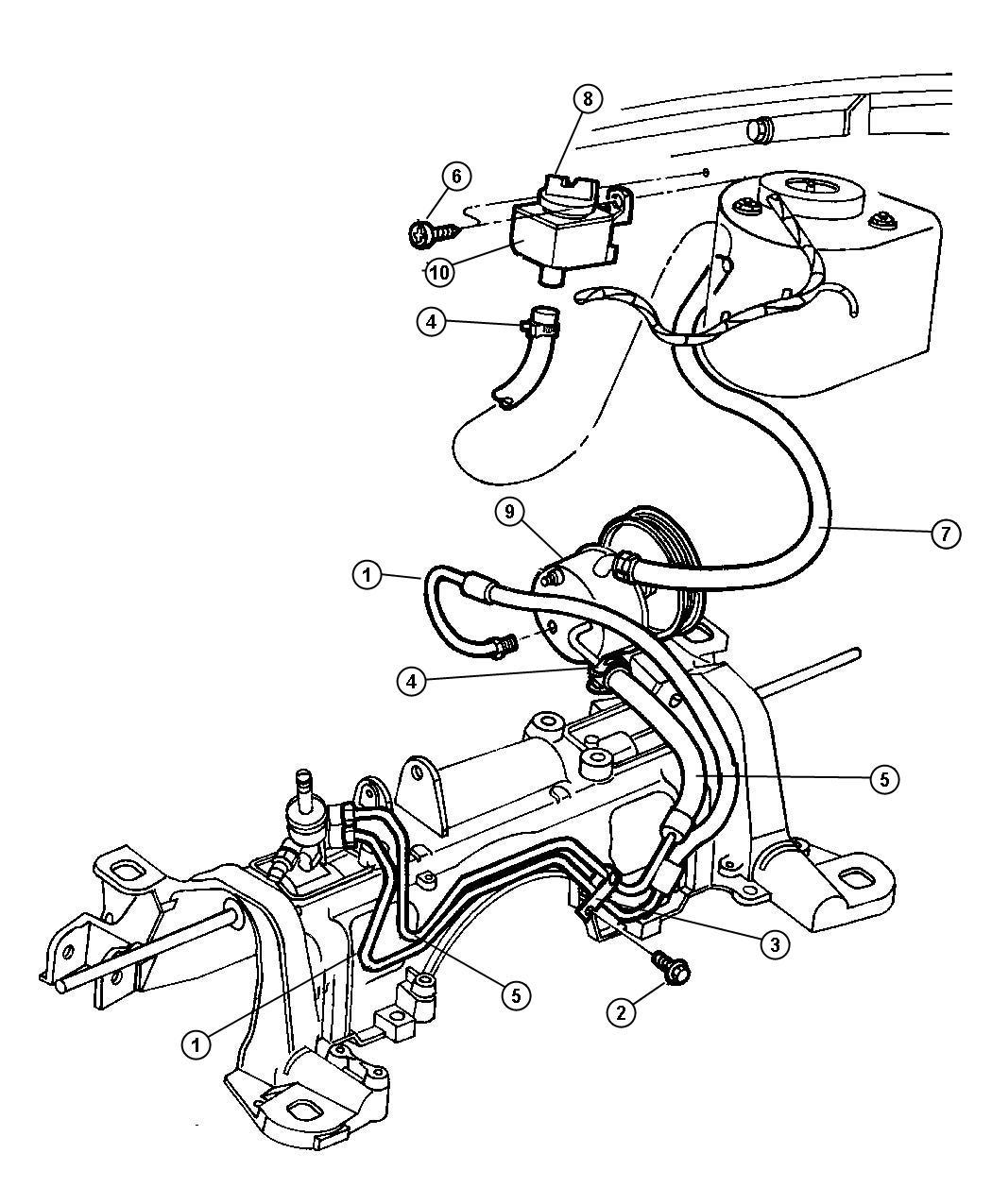 Dodge Grand Caravan Hose  Power Steering  Engine  Pinion  Rack