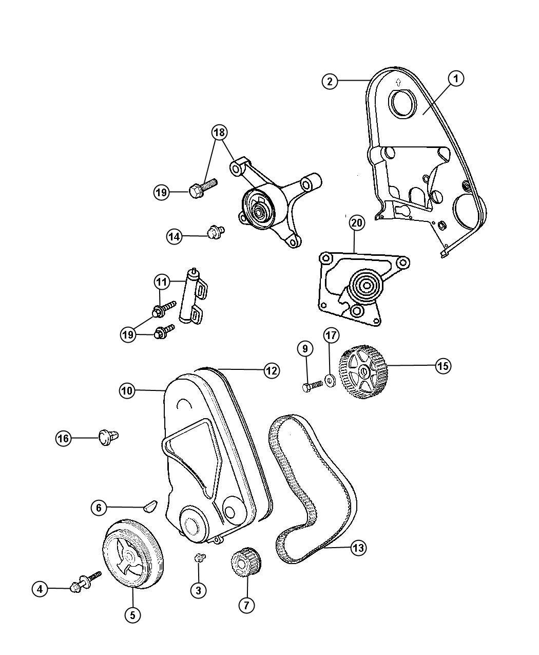 2001 Dodge Neon Engine: 2001 Dodge Neon Bracket. Tensioner. Emissions, Belt, Cover