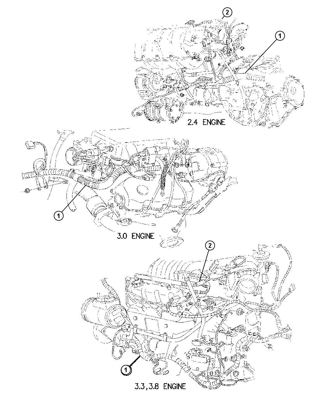chrysler town  u0026 country wiring  engine  calif