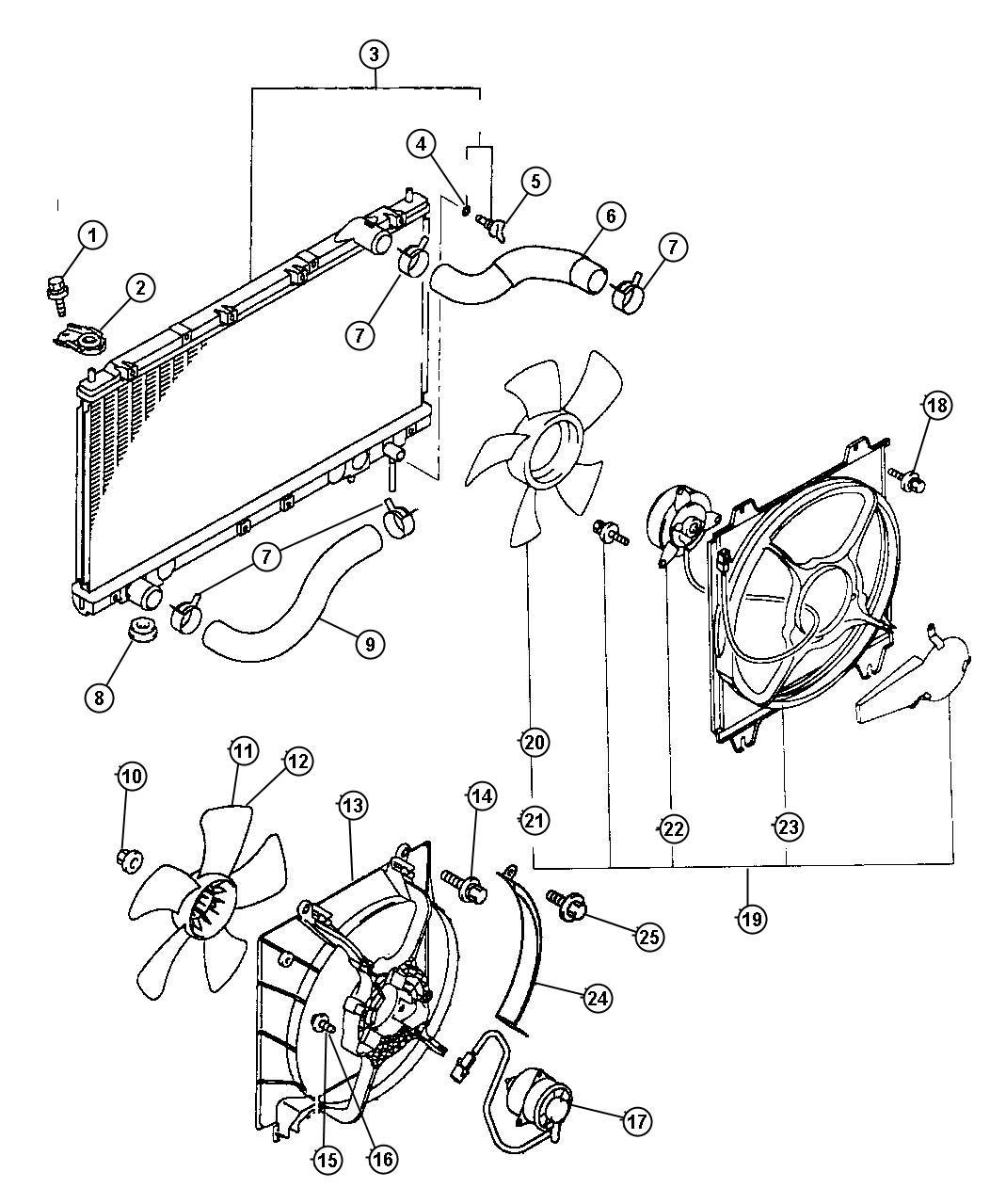 1999 chrysler sebring radiator  engine cooling  mopar