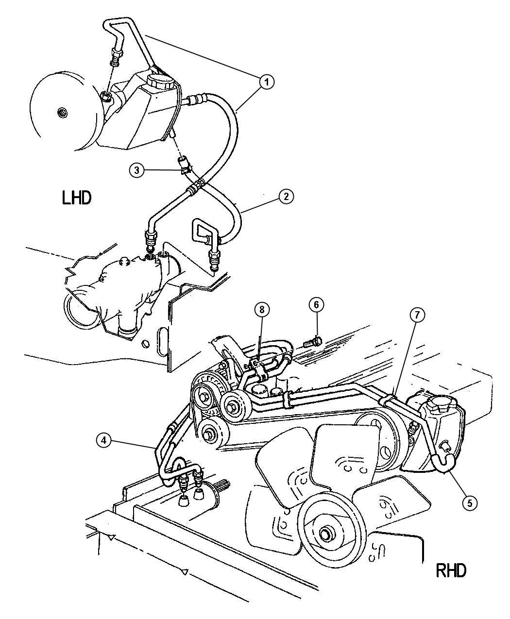 1994 Jeep Cherokee Hose. Power steering return. Reservoir ...