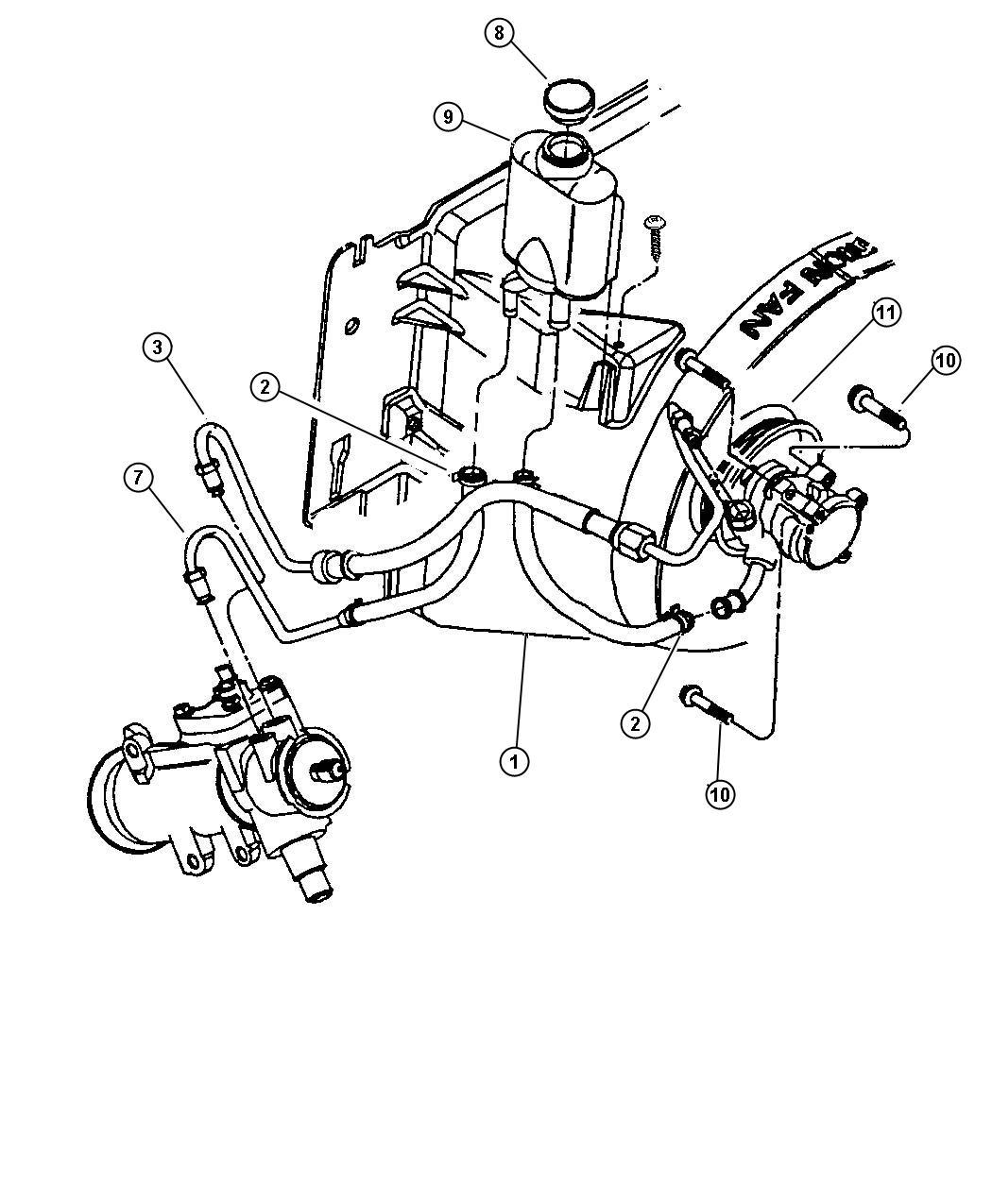 1997 Jeep Wrangler Reservoir  Power Steering Pump  Engine