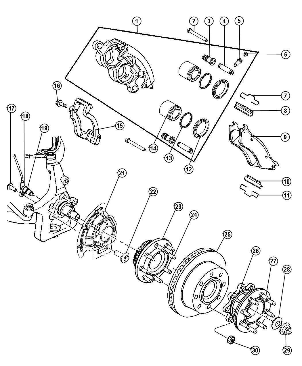 2001 dodge ram 3500 caliper  right  disc brake  mopar
