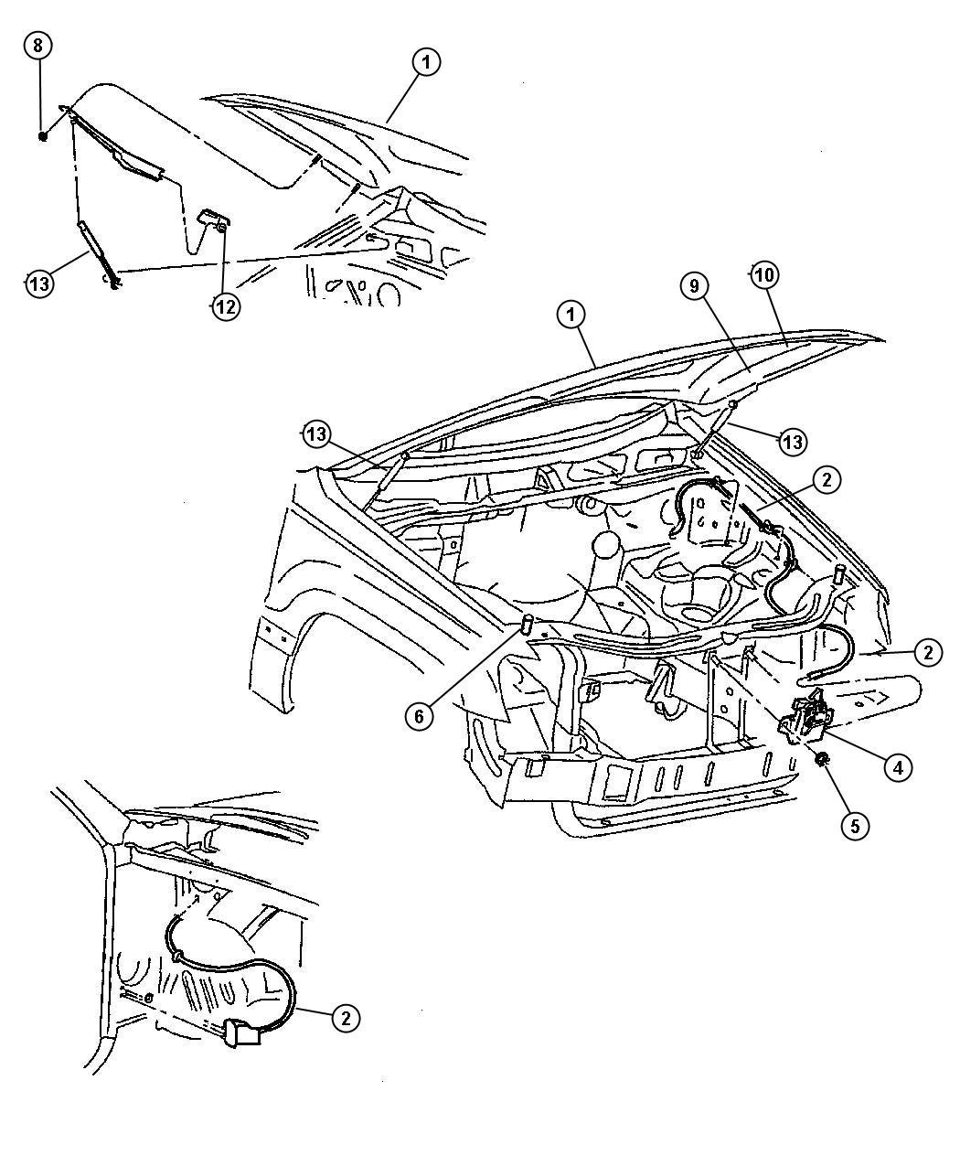 2002 Dodge Durango Cable Hood Release Front Suspension