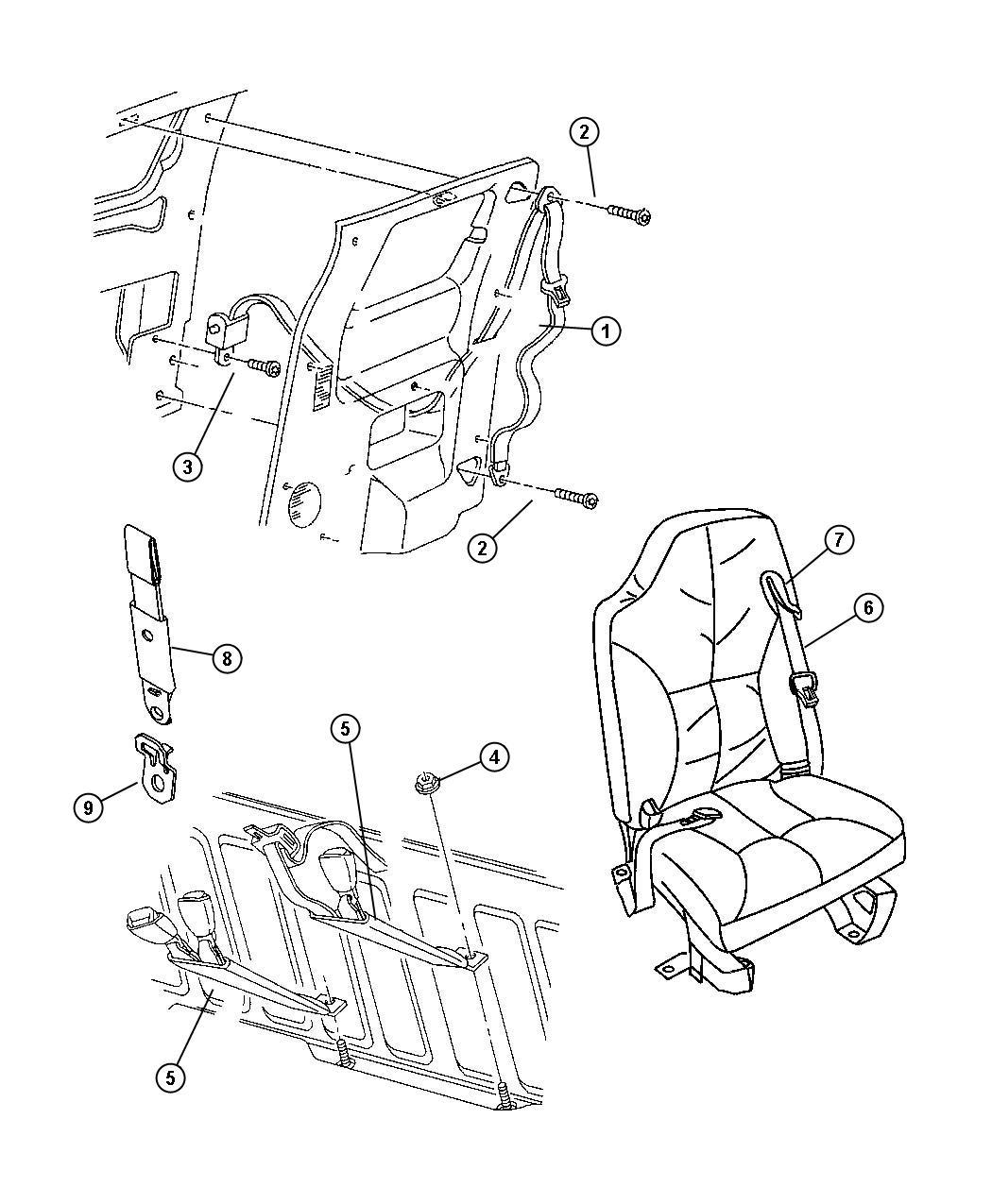 2001 Dodge Ram 1500 Seat Belt  Front Outer  Left   C3