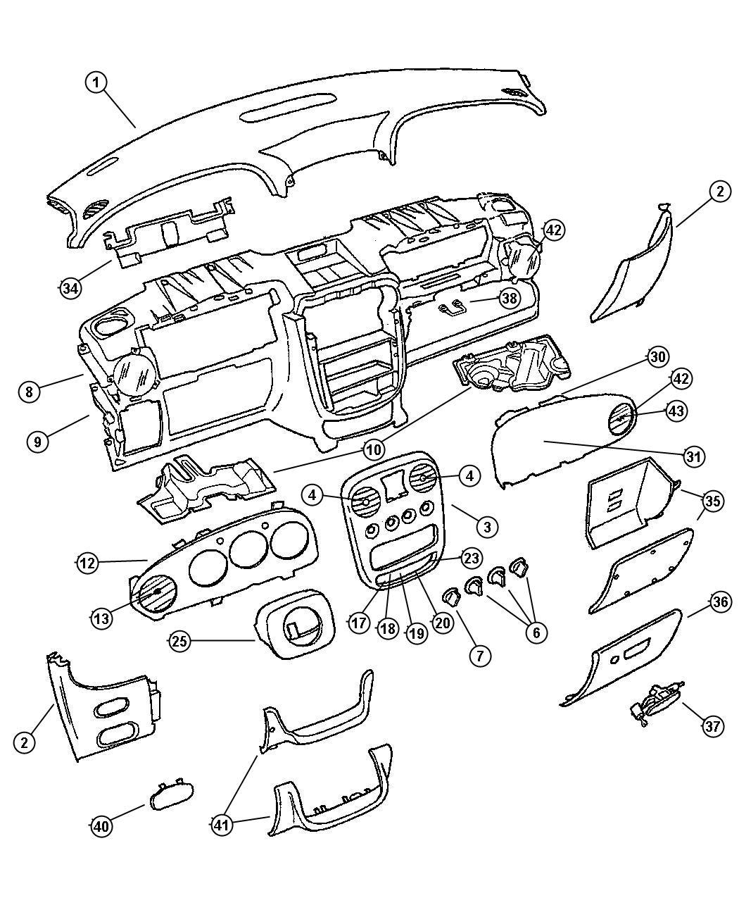 2001 Chrysler PT Cruiser Cover. Instrument Panel. Trim