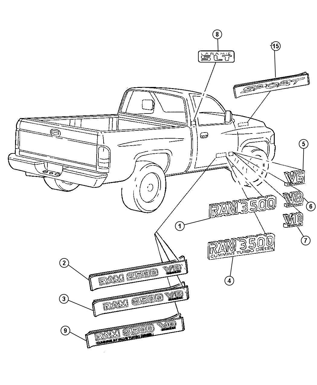 2000 Dodge Ram 2500 Nameplate  Front Fender  Ram 3500