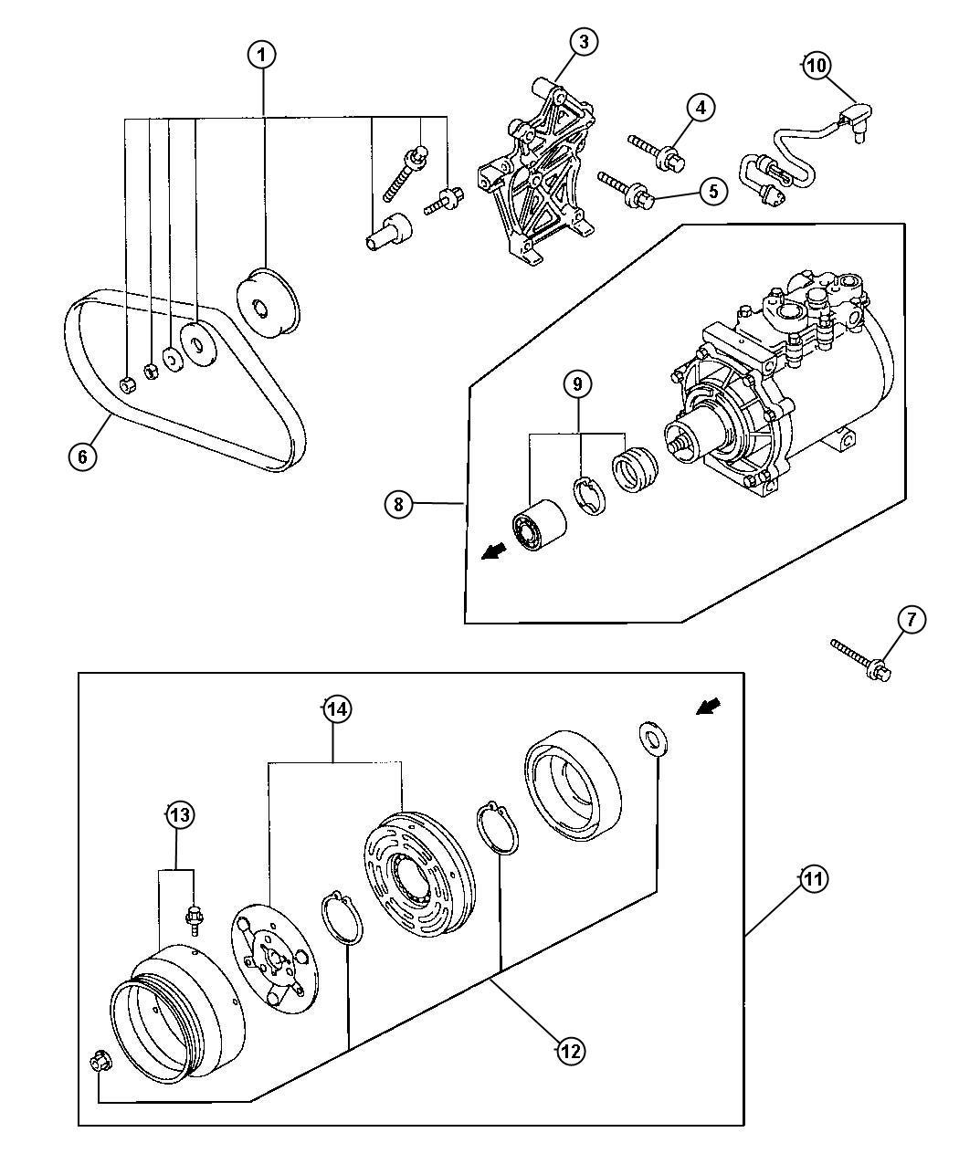 1999 chrysler sebring bolt  a  c compressor  bolt  air