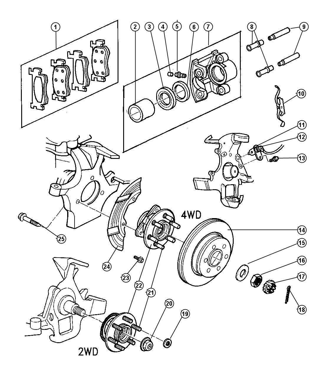 1999 Dodge Dakota Bolt  Hub  Mounting  Hub And Bearing To Knuckle  Knuckle To Hub  Knuckle