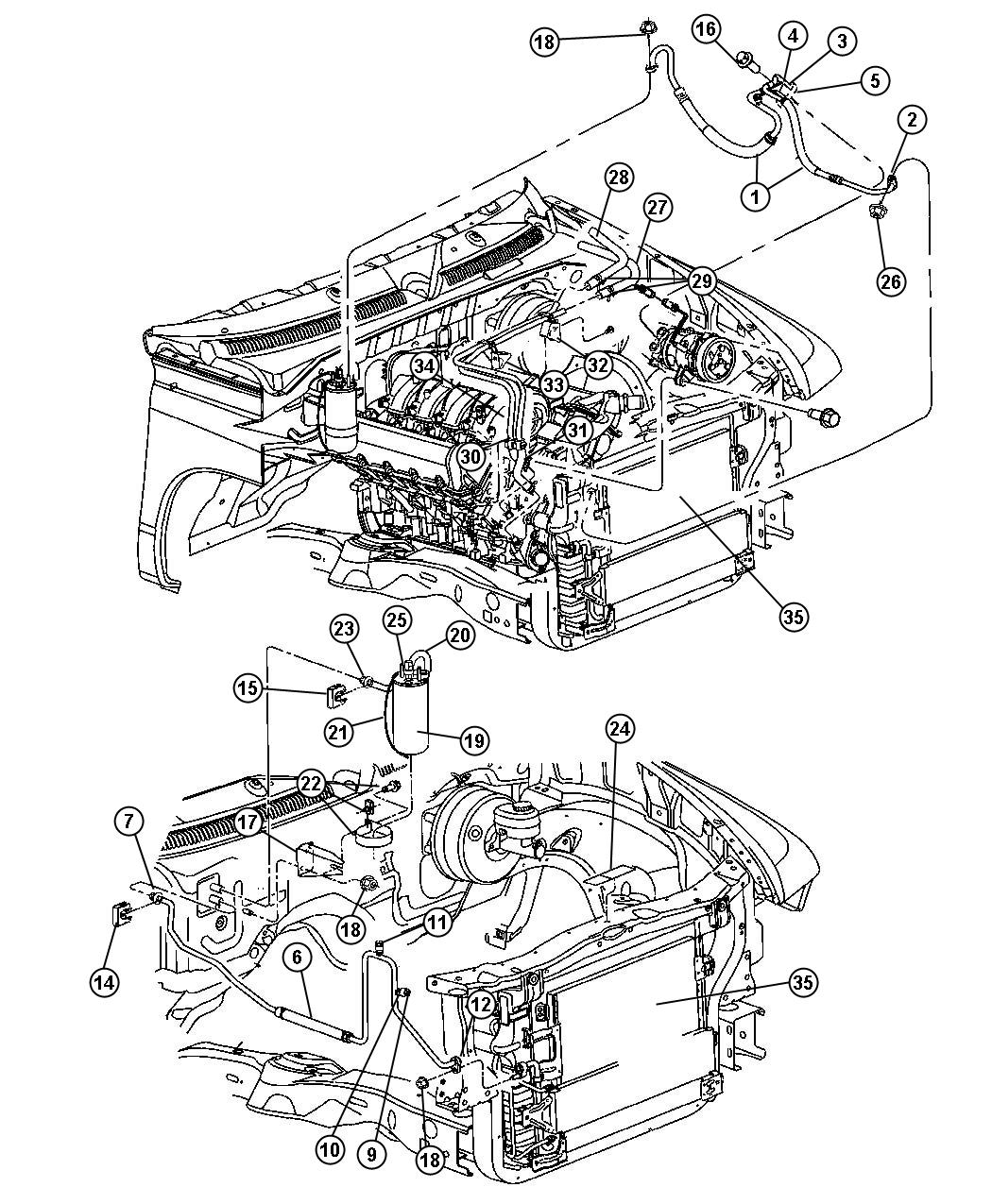 air conditioning tube diagram dodge dakota