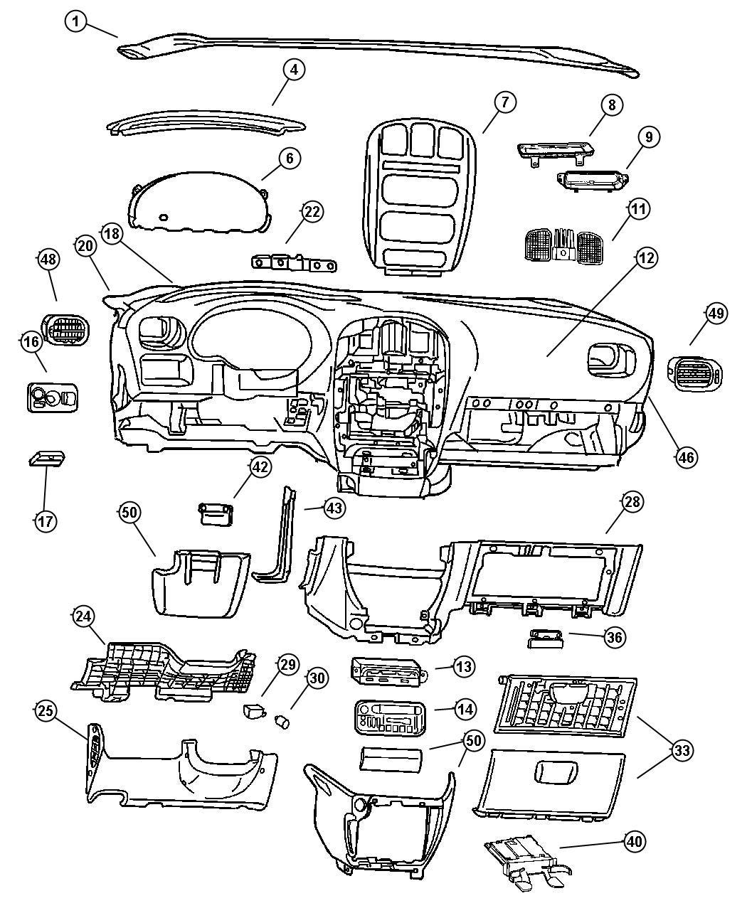 2003 Dodge Grand Caravan Bezel  Instrument Panel  Over