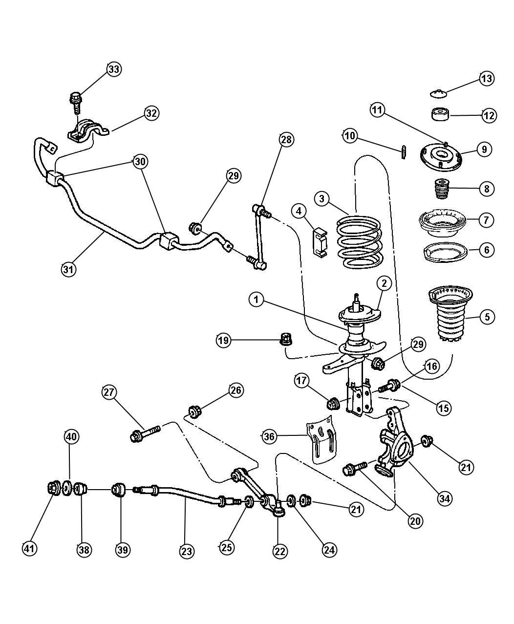 2002 Dodge Intrepid Bushing  Lower Control Arm  Rear  Lca Strut To Cradle Rear  Strut To