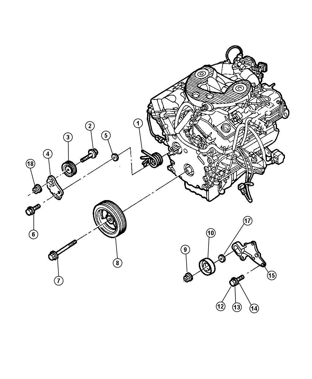 2002 chrysler concorde pulley  power steering pump  pulleys  engine  drive