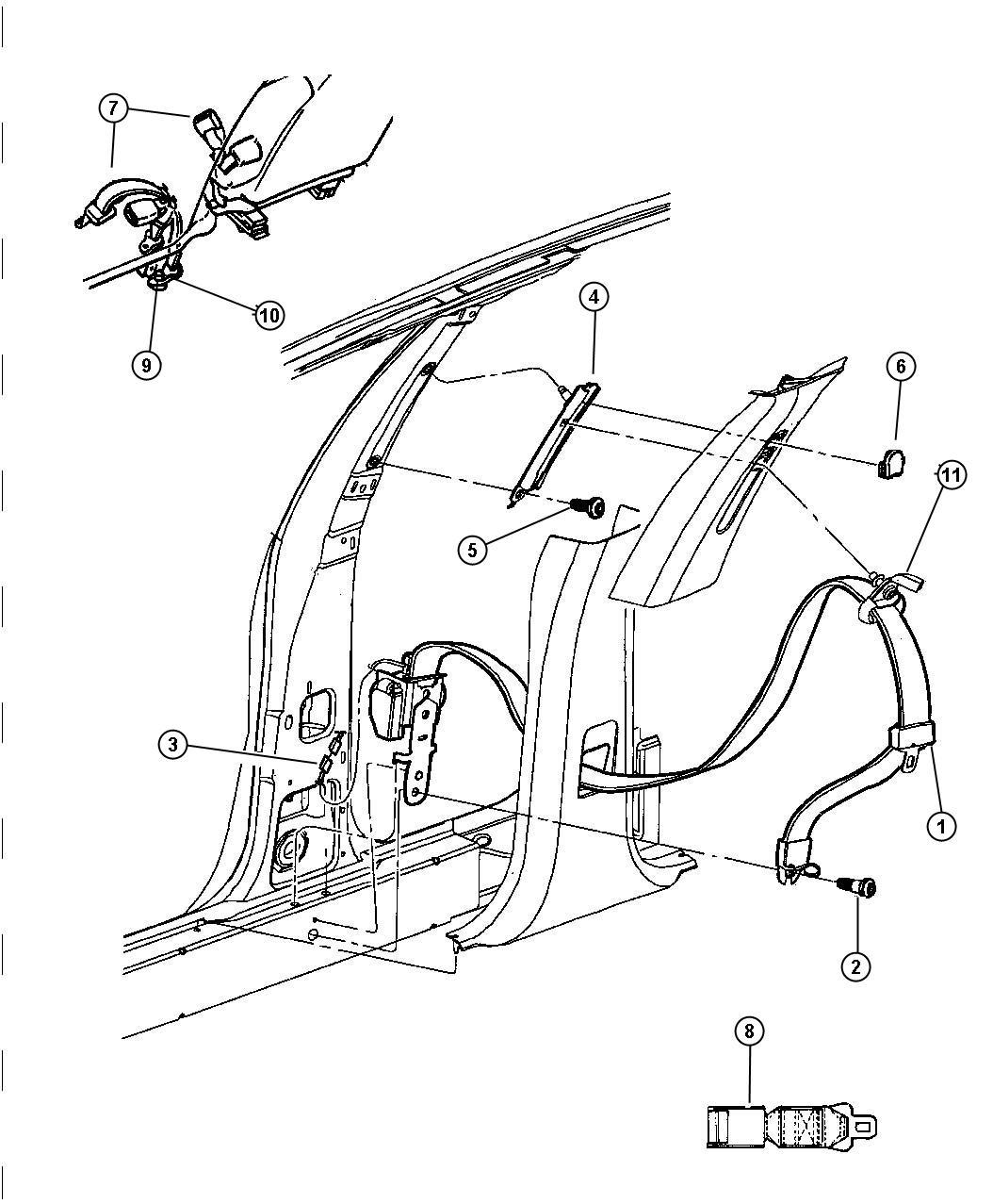2002    Chrysler       300       Seat    belt Front center  l5  Trim