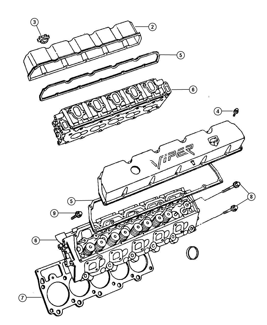2000 Dodge Viper Gasket Valve Cover Gasket Cylinder