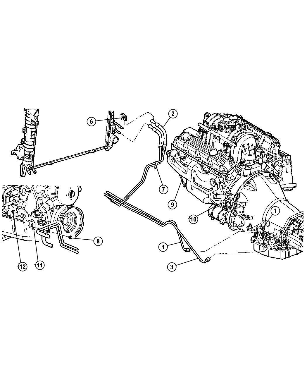 2011 jeep compass cooler  transmission oil  lines  diesel