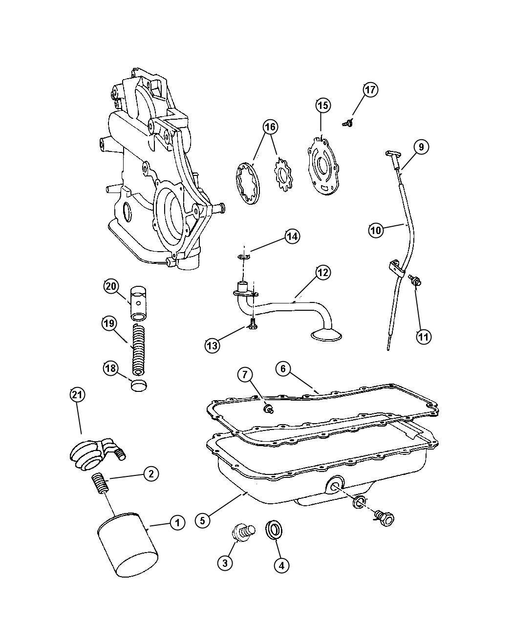 1998 Dodge Grand Caravan Adapter, connector. Oil filter. 3 ...