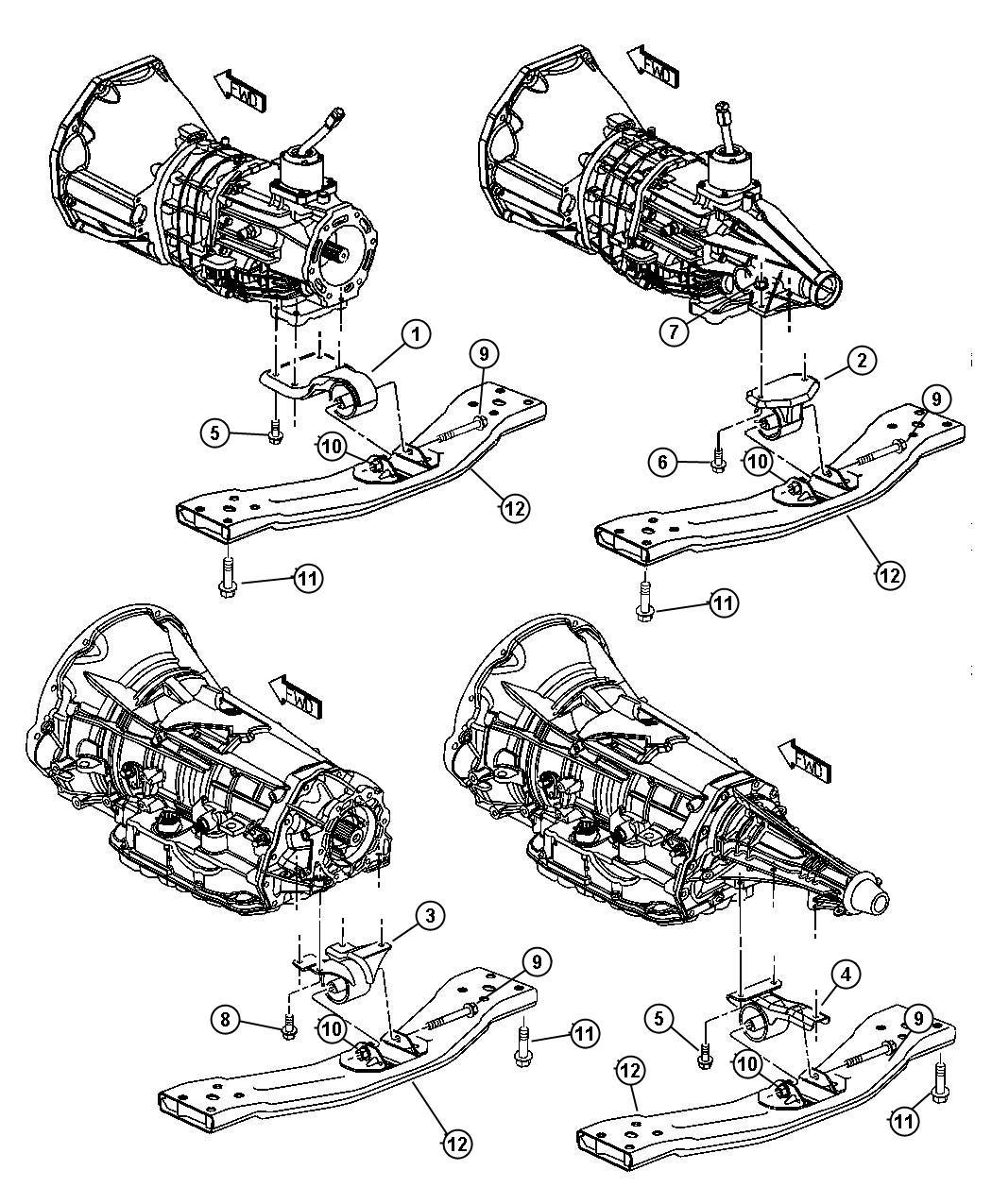 Chrysler Sebring Bracket And Insulator. Transmission