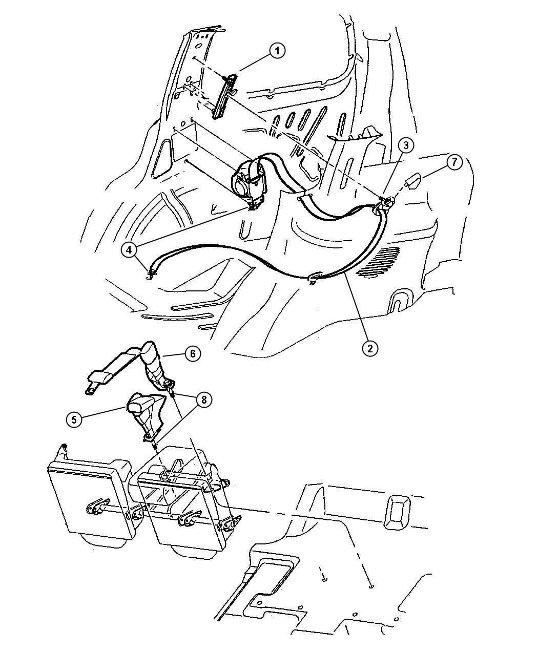 2008 Chrysler Sebring Seat Belt  Rear Inner   Dl  Dv
