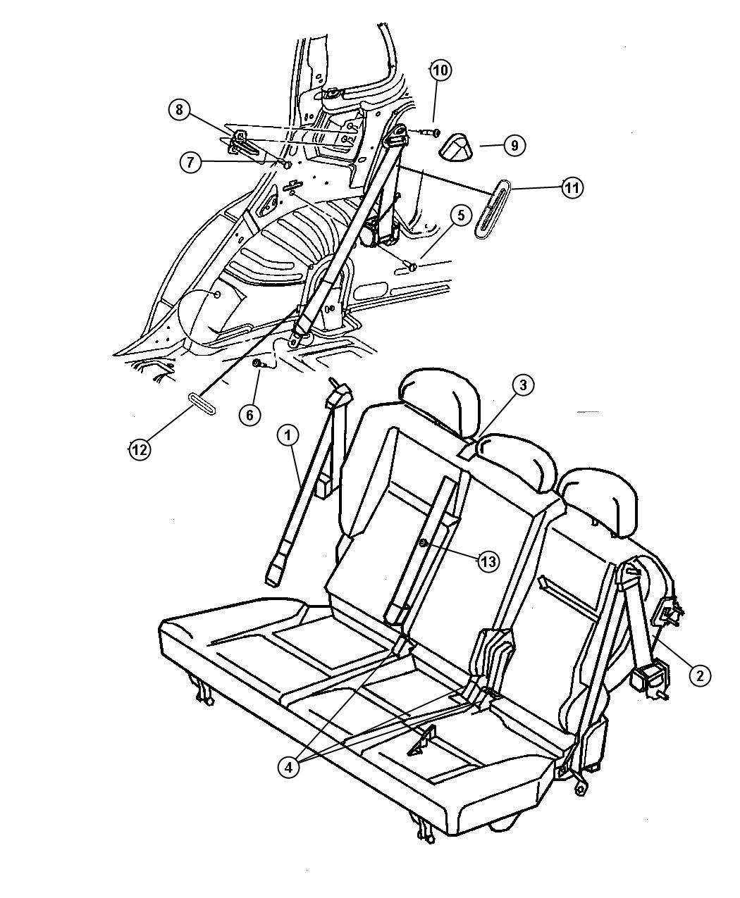 2012 dodge journey seat belt  outboard  buckle half w